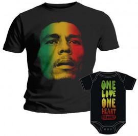 Duo Rockset Bob Marley Father's T-shirt & Bob Marley Baby Grow Baby