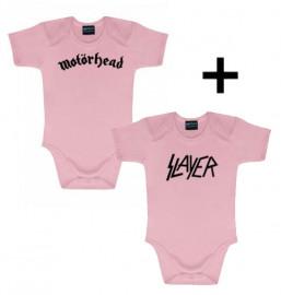 Baby rock giftset Motörhead Baby Grow & Slayer Baby Grow Pink