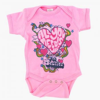 Beatles Baby Grow All You Need Is Love Pink