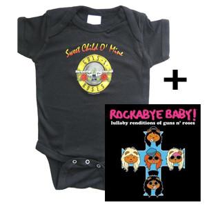 guns and roses romper & rockabyebaby cd giftset