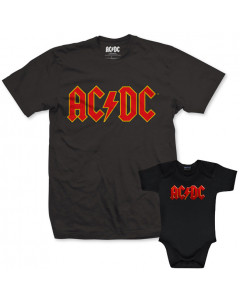 Duo Rockset AC/DC Father's T-shirt & AC/DC Baby Grow Baby Colour Logo